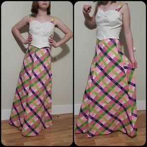 ✌2 piece Crop top High waisted skirt XS 60's 70's